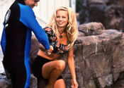 "Pamela Anderson in action on the set of ""Baywatch,"" season 2"