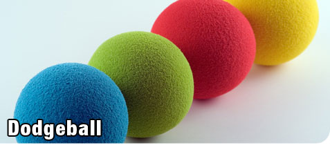 Four Colorful Spongeball used for Recreational Dodgeball