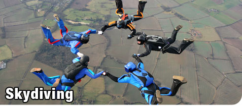 Group of Skydivers Holding Hands