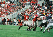 Ohio State quarterback Troy Smith throwing the ball